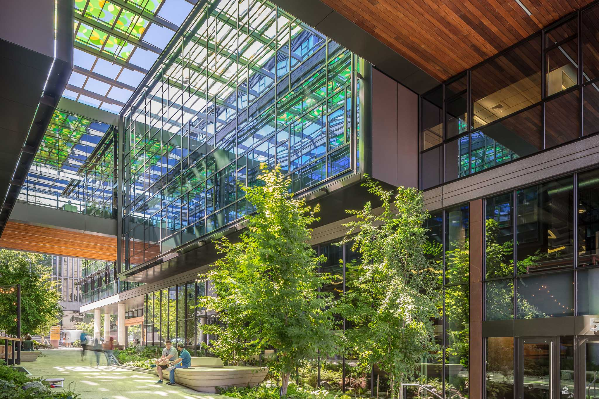 Glass atrium in Amazon.com office building