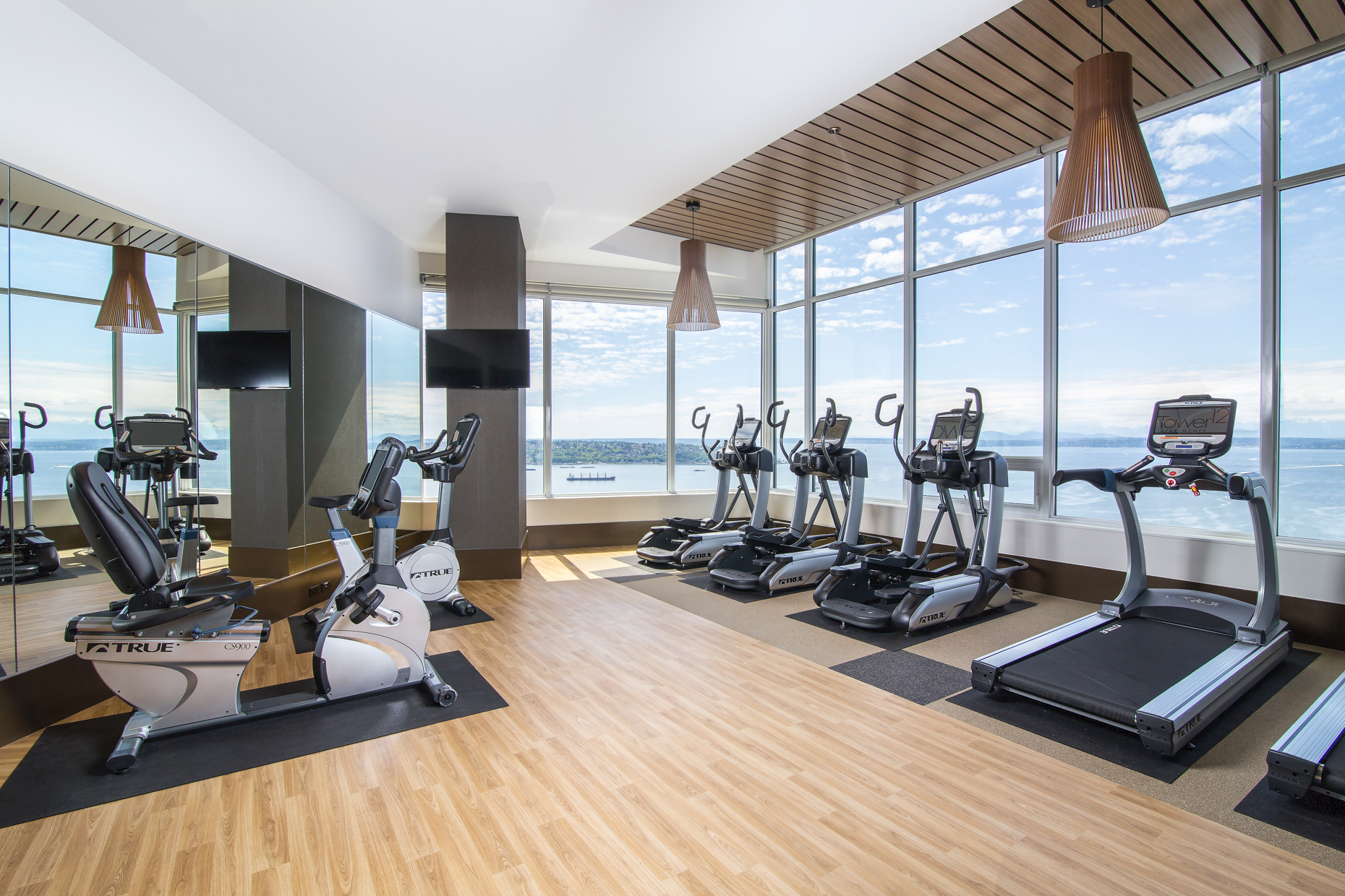 Private gym with water views and hardwood floors